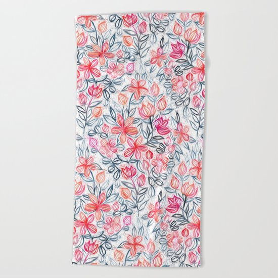 Coral and Grey Candy Striped Crayon Floral Beach Towel