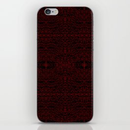 Red Swirlicues On Black iPhone Skin