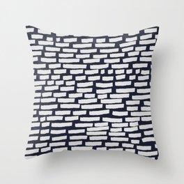 Light Grey Strokes on Dark Blue Throw Pillow