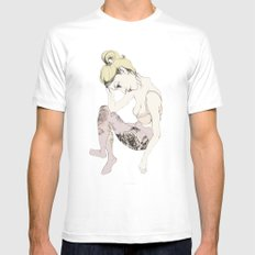 With stockings of flowers White Mens Fitted Tee MEDIUM