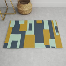 Cosmopolitan Minimalist Geometric Color Block Abstract in Mint, Golden Mustard, and Blue Rug