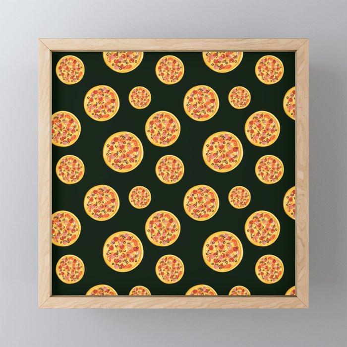 Pizza Pattern   Fast Food Cheese Italian Framed Mini Art Print