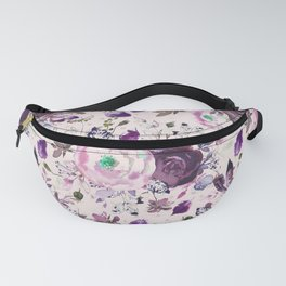 Country chic pink lavender violet watercolor floral Fanny Pack