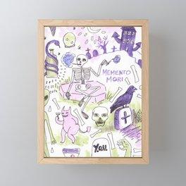 memento mori horror pattern Framed Mini Art Print