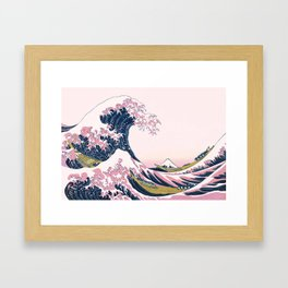 The Great Pink Wave off Kanagawa Framed Art Print
