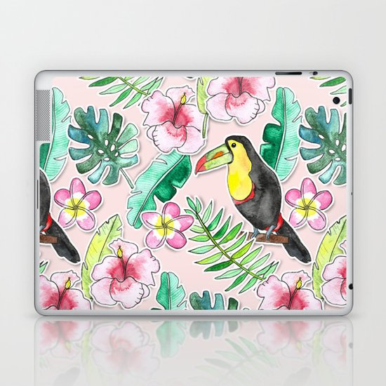 Tropical Toucan Paper-Cut Floral Laptop & iPad Skin