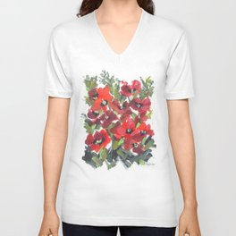 Wild Red Poppies Unisex V-Neck