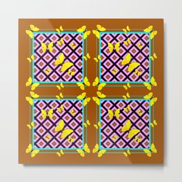 Western Style Purple Patterns & Yellow Butterflies Coffee Brown Metal Print