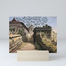 Possibly the temple at Nu Tooth, Sri Lanka. Watercolour drawing by C.H.S.B. Mini Art Print
