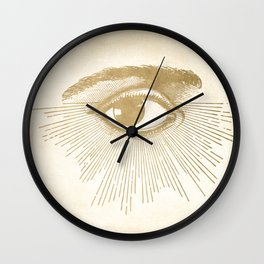I See You. Vintage Gold Antique Paper Wall Clock