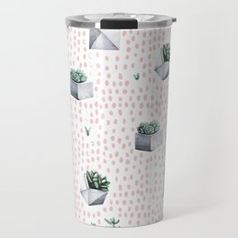 Potted Succulents Pink Polka Dots Travel Mug