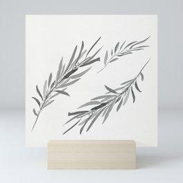 Eucalyptus leaves black and white Mini Art Print