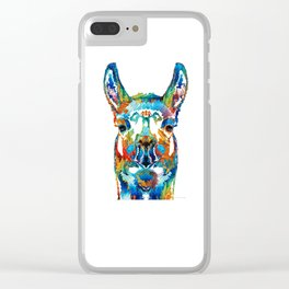 Colorful Llama Art - The Prince - By Sharon Cummings Clear iPhone Case