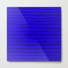 Horizontal bright blue lines on a dark tree. Metal Print