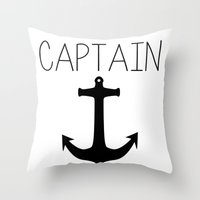 captain Throw Pillows featuring Captain by Nicolekay