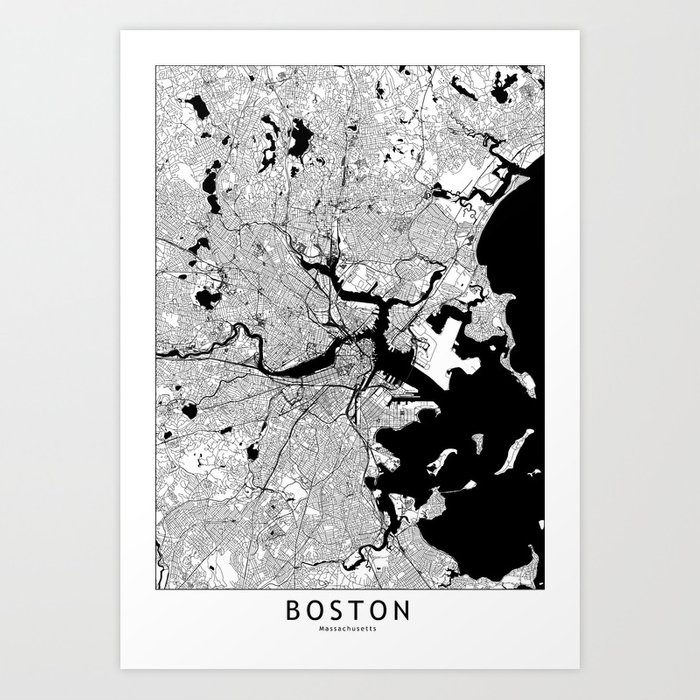 Boston Black And White Map Art Print By Multiplicity Society6