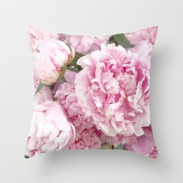 Pink Shabby Chic Peonies - Garden Peony Flowers Wall Prints Home Decor Throw Pillow