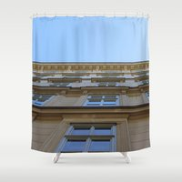 vienna Shower Curtains featuring Abstract Vienna by Andrew Schmidt