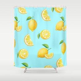 Lemons on Blue Shower Curtain