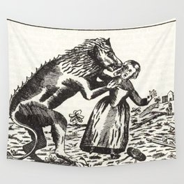 Werewolf attack Medieval etching Wall Tapestry
