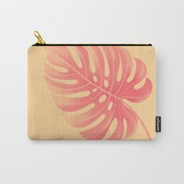 Monstera Tropical Coral Gold Carry-All Pouch