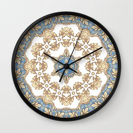 Square composition with golden scrolls on blue Wall Clock
