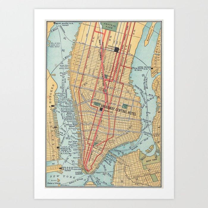 Vintage Map Of New York City 1900 Art Print By Bravuramedia Society6