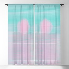Abstract lavender teal pink watercolor sunset Sheer Curtain