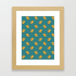 Sunny Family boy hand drawn home decor and textile design kids pattern on green Framed Art Print