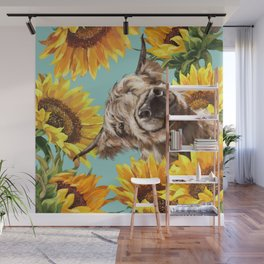 Highland Cow with Sunflowers in Blue Wall Mural