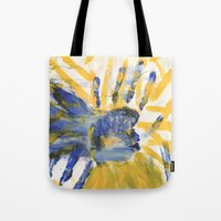 sun and moon Tote Bags featuring Sun-Moon by Lindsey Quakenbush