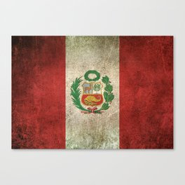 Old and Worn Distressed Vintage Flag of Peru Canvas Print