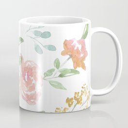Mustard Floral Pattern Coffee Mug