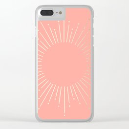 Simply Sunburst in White Gold Sands on Salmon Pink Clear iPhone Case