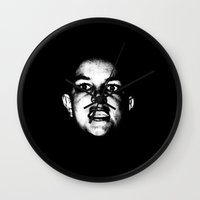 britney spears Wall Clocks featuring Bald Britney Spears  by Jessica Buie