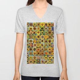 Sunflower Montage Unisex V-Neck