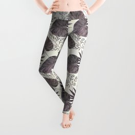 Gray tropical pattern on light beige background. Leggings