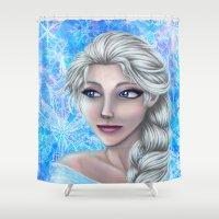 frozen elsa Shower Curtains featuring Elsa by Kimberly Castello