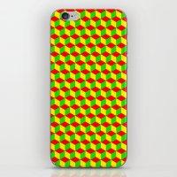 rasta iPhone & iPod Skins featuring Cubed - Rasta by Matt Cutaia