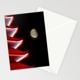 Moon Over Pagoda Architectural Night Photograph Stationery Cards