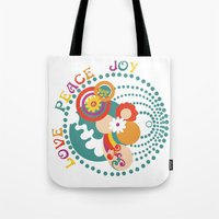 70s Tote Bags featuring 70s Circle  by Louise Machado