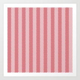 Carmine Red and White Herringbone Chevron Pattern Art Print