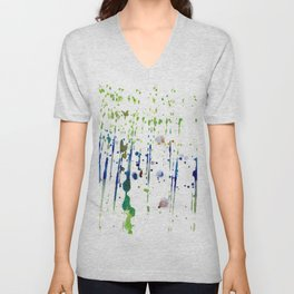 Artistic modern blue green watercolor splatters Unisex V-Neck