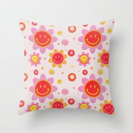 Smiling Flower Faces  Throw Pillow