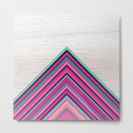 Wood and Bright Stripes, Chevron - Geometric Design Metal Print