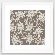 Paisley: Taupe  Framed Art Print