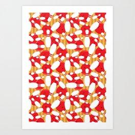 Bowling Alley Balls and Pins Pattern Art Print