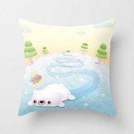 Sliding Polar Bear Throw Pillow