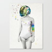 robot Canvas Prints featuring Robot Rock #2 by Jenny Liz Rome
