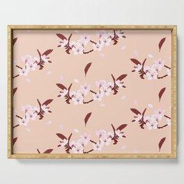 sakura flowers on peach background Serving Tray
